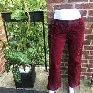 J Crew Bootcut Suede Jeans Burgundy Size 8S